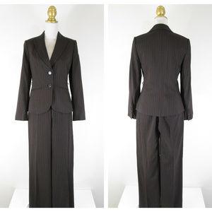 Ann Taylor Virgin Wool Brown Pinstripe Pant Suit